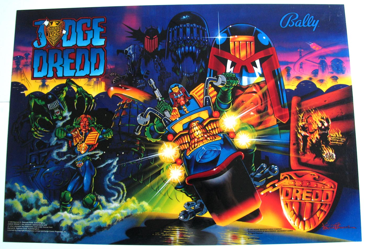good selling super popular outlet Details about NOS Bally Judge Dredd translite pinball